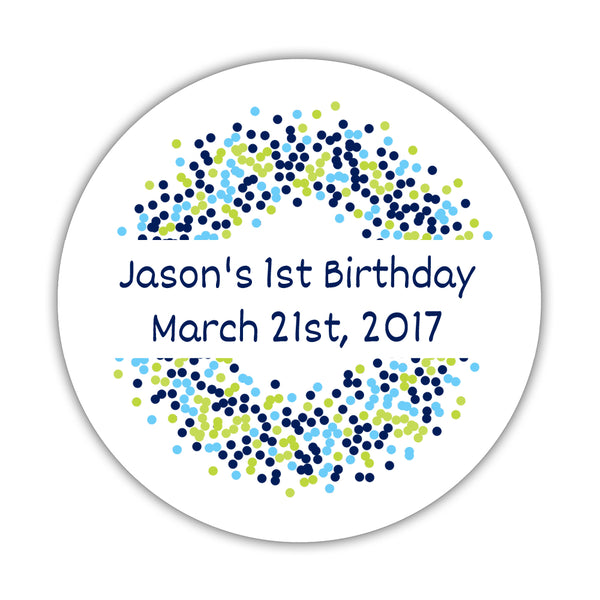 "Favor stickers 'Confetti Sprinkle' - 1.5"" circle = 30 labels per sheet / Navy/Lime - Dazzling Daisies"