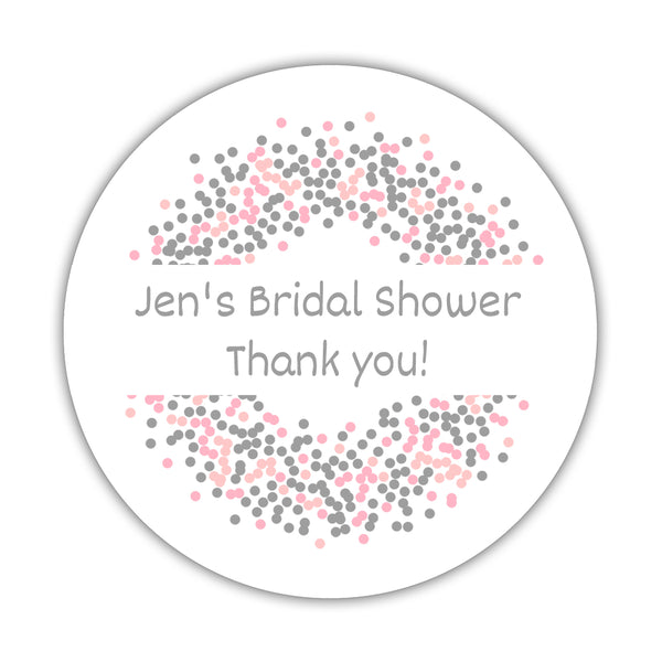 "Favor stickers 'Confetti Sprinkle' - 1.5"" circle = 30 labels per sheet / Silver/Pink - Dazzling Daisies"