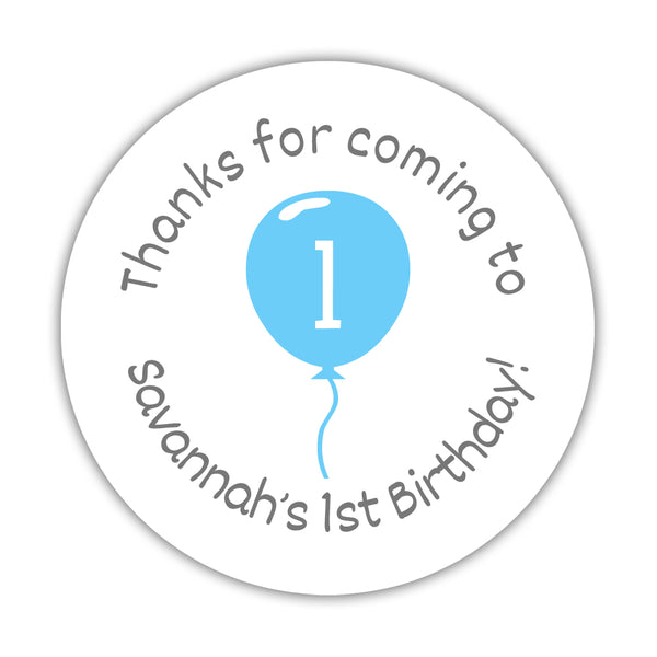 "Birthday stickers 'Balloon' - 1.5"" circle = 30 labels per sheet / Sky blue - Dazzling Daisies"