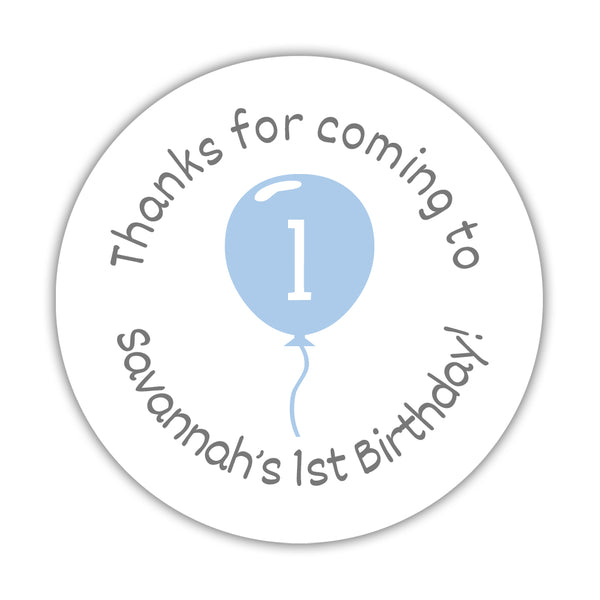 "Birthday stickers 'Balloon' - 1.5"" circle = 30 labels per sheet / Steel blue - Dazzling Daisies"