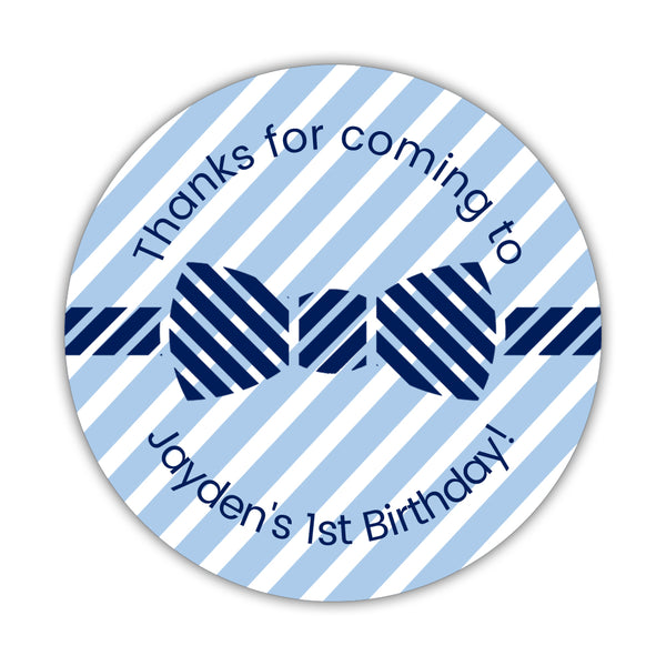 "Birthday stickers 'Bow tie Cuteness' - 1.5"" circle = 30 labels per sheet / Steel blue - Dazzling Daisies"