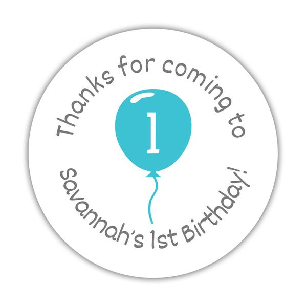 "Birthday stickers 'Balloon' - 1.5"" circle = 30 labels per sheet / Turquoise - Dazzling Daisies"