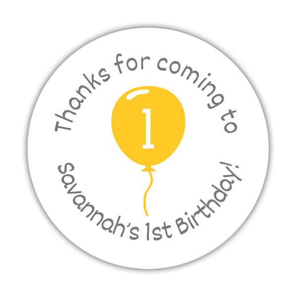 "Birthday stickers 'Balloon' - 1.5"" circle = 30 labels per sheet / Yellow - Dazzling Daisies"