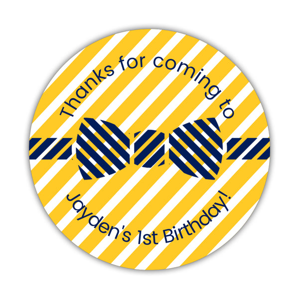"Birthday stickers 'Bow tie Cuteness' - 1.5"" circle = 30 labels per sheet / Yellow - Dazzling Daisies"
