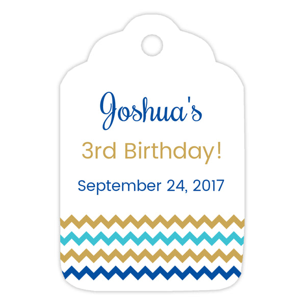 Favor tags 'Chevron Border' - Gold/Blue - Dazzling Daisies