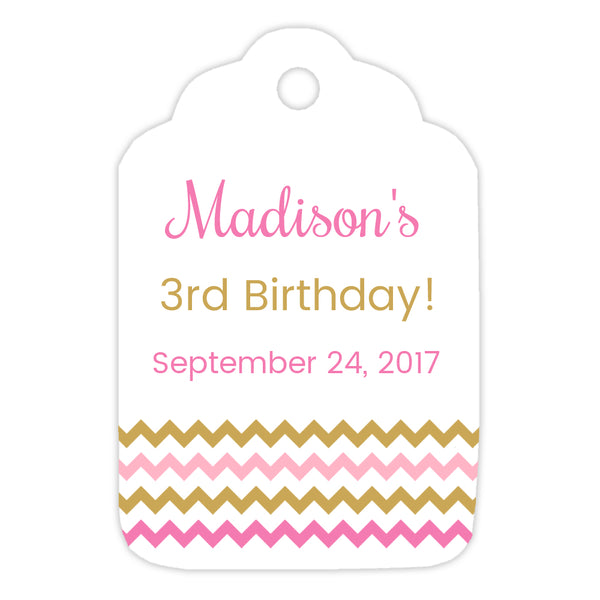 Favor tags 'Chevron Border' - Gold/Pink - Dazzling Daisies