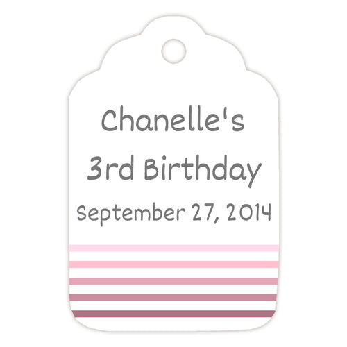 Birthday tags 'Striped Border' - Pink - Dazzling Daisies