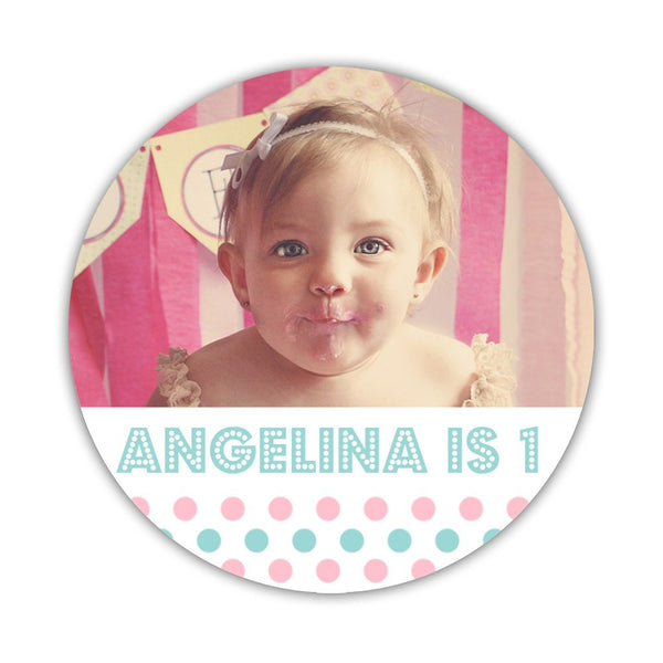 "Birthday photo stickers 'Polka Prettiness' - 1.5"" circle = 30 labels per sheet / Pink/Aquamarine - Dazzling Daisies"
