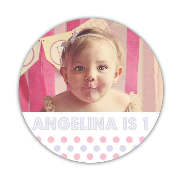 "Birthday photo stickers 'Polka Prettiness' - 1.5"" circle = 30 labels per sheet / Pink/Lavender - Dazzling Daisies"