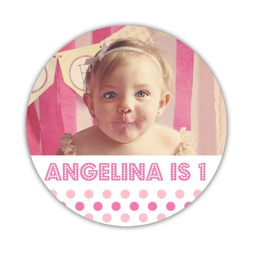 "Birthday photo stickers 'Polka Prettiness' - 1.5"" circle = 30 labels per sheet / Pink - Dazzling Daisies"