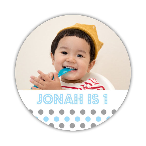 "Birthday photo stickers 'Polka Prettiness' - 1.5"" circle = 30 labels per sheet / Gray/Sky blue - Dazzling Daisies"