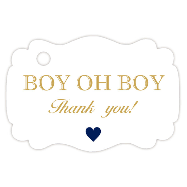 Boy oh boy baby shower tags - Gold - Dazzling Daisies