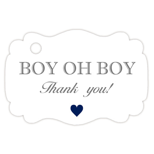 'Boy oh boy' baby shower tags - Gray - Dazzling Daisies