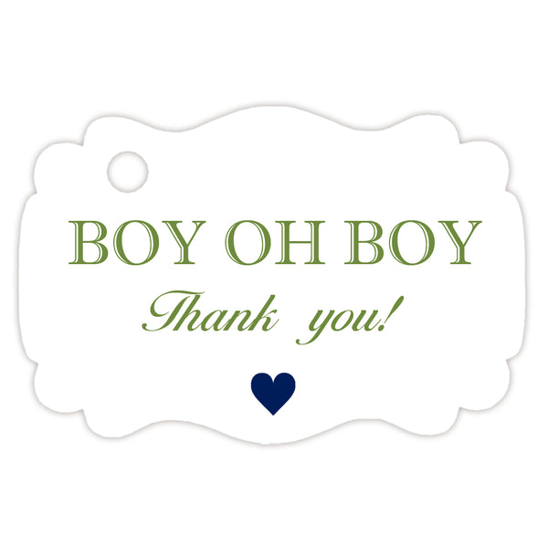 Boy oh boy baby shower tags - Olive - Dazzling Daisies