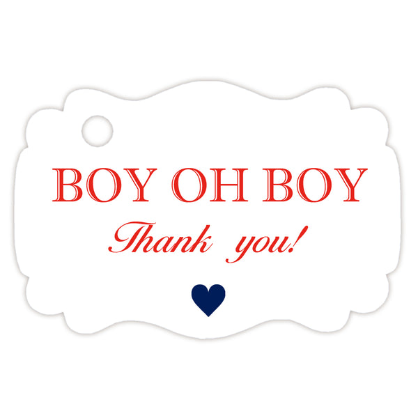 Boy oh boy baby shower tags - Red - Dazzling Daisies
