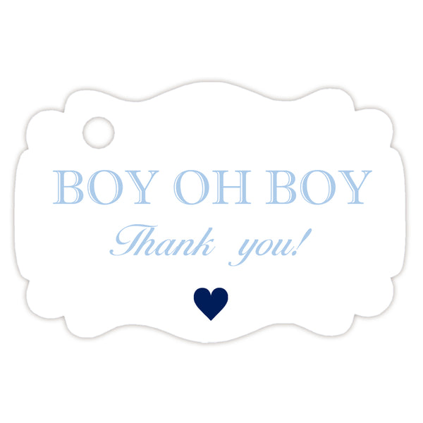 Boy oh boy baby shower tags - Steel blue - Dazzling Daisies