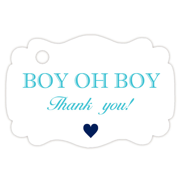 Boy oh boy baby shower tags - Turquoise - Dazzling Daisies