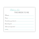 Bridal shower advice cards 'Classic Elegance' - Aquamarine - Dazzling Daisies