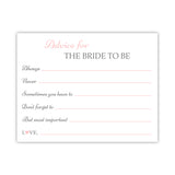 Bridal shower advice cards 'Classic Elegance' - Blush - Dazzling Daisies