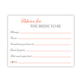 Bridal shower advice cards 'Classic Elegance' - Coral - Dazzling Daisies