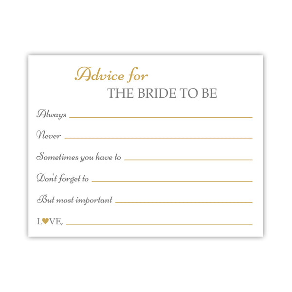 Bridal shower advice cards 'Classic Elegance' - Gold - Dazzling Daisies