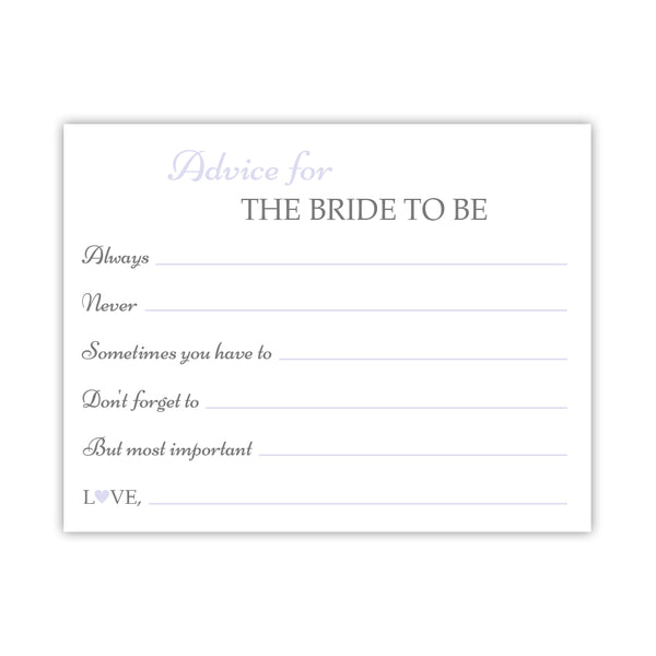 Bridal shower advice cards 'Classic Elegance' - Lavender - Dazzling Daisies