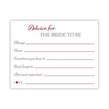 Bridal shower advice cards 'Classic Elegance' - Maroon - Dazzling Daisies