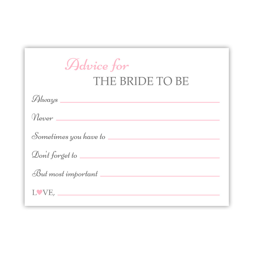 Bridal shower advice cards