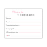 Bridal shower advice cards 'Classic Elegance' - Pink - Dazzling Daisies