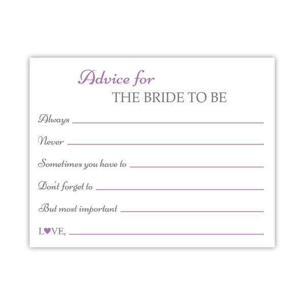 Bridal shower advice cards 'Classic Elegance' - Plum - Dazzling Daisies