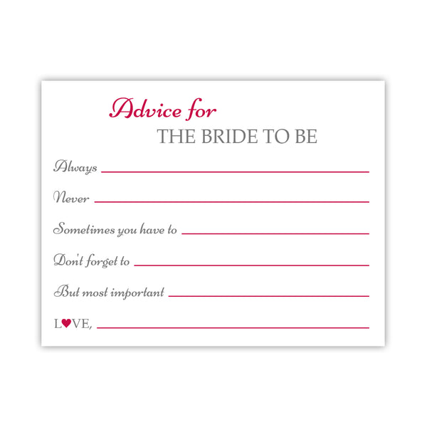 Bridal shower advice cards 'Classic Elegance' - Raspberry - Dazzling Daisies