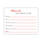 Bridal shower advice cards 'Classic Elegance' - Red - Dazzling Daisies