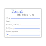 Bridal shower advice cards 'Classic Elegance' - Royal blue - Dazzling Daisies