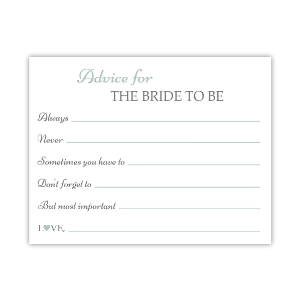 Bridal shower advice cards 'Classic Elegance' - Sage - Dazzling Daisies