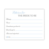 Bridal shower advice cards 'Classic Elegance' - Steel blue - Dazzling Daisies