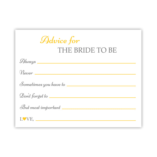 Bridal shower advice cards 'Classic Elegance' - Yellow - Dazzling Daisies