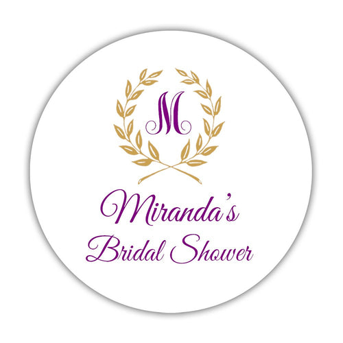 "Bridal shower stickers laurel - 1.5"" circle = 30 labels per sheet / Purple - Dazzling Daisies"