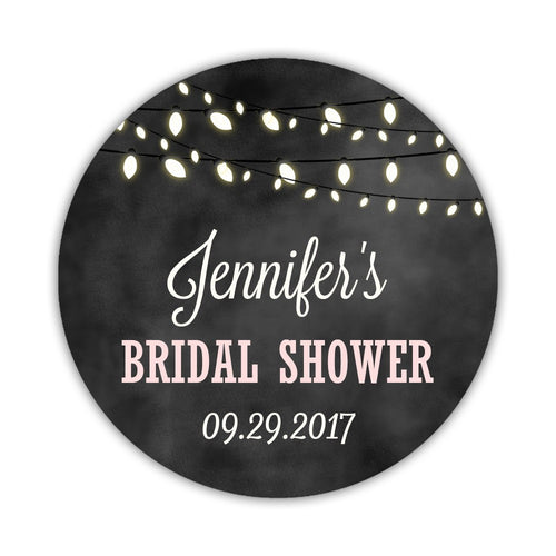 "Bridal shower stickers chalk light strings - 1.5"" circle = 30 labels per sheet / Blush - Dazzling Daisies"