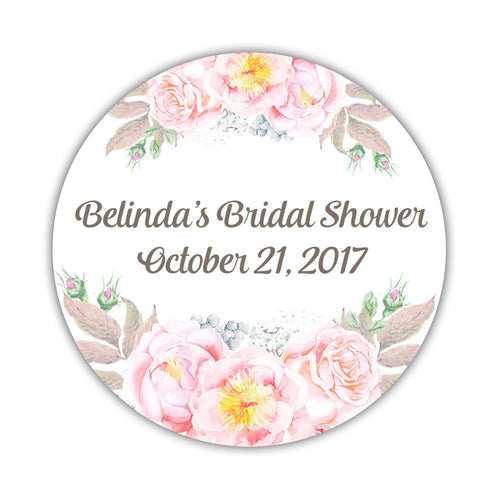 "Floral bridal shower stickers watercolor - 1.5"" circle = 30 labels per sheet / Taupe - Dazzling Daisies"