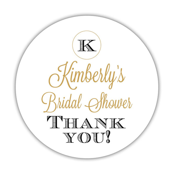 "Favor stickers 'Marvelous Monogram' - 1.5"" circle = 30 labels per sheet / Gold/Black - Dazzling Daisies"