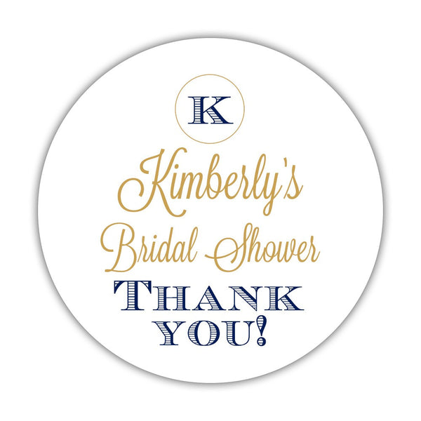 "Favor stickers 'Marvelous Monogram' - 1.5"" circle = 30 labels per sheet / Gold/Navy - Dazzling Daisies"
