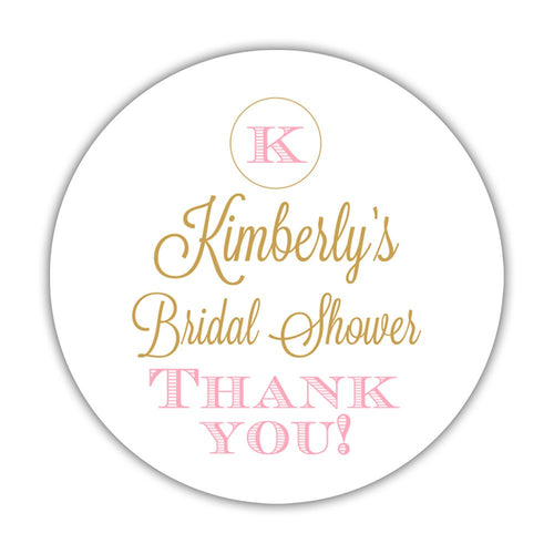 "Bridal shower stickers monogram - 1.5"" circle = 30 labels per sheet / Gold/Pink - Dazzling Daisies"