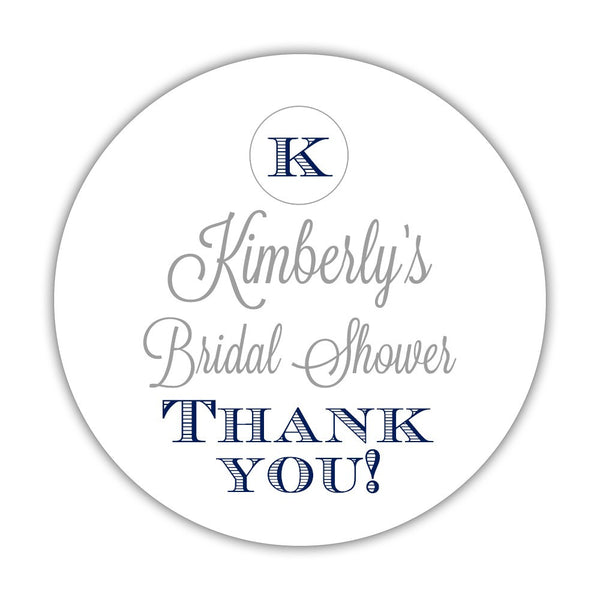 "Favor stickers 'Marvelous Monogram' - 1.5"" circle = 30 labels per sheet / Silver/Navy - Dazzling Daisies"