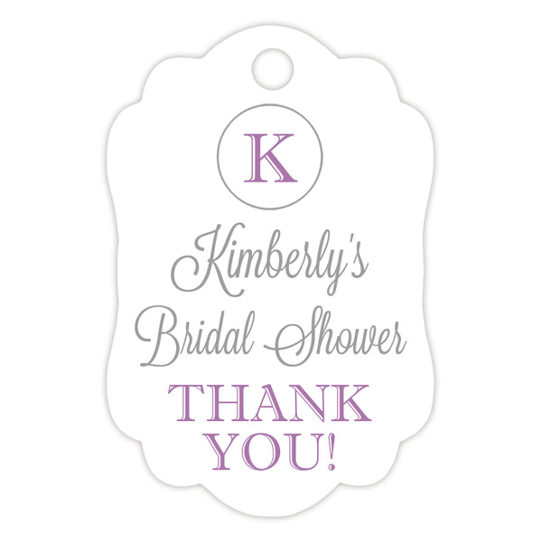 Monogram tags 'Elegance Deluxe' - Silver/Plum - Dazzling Daisies