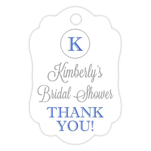 Monogram tags 'Elegance Deluxe' - Silver/Royal blue - Dazzling Daisies