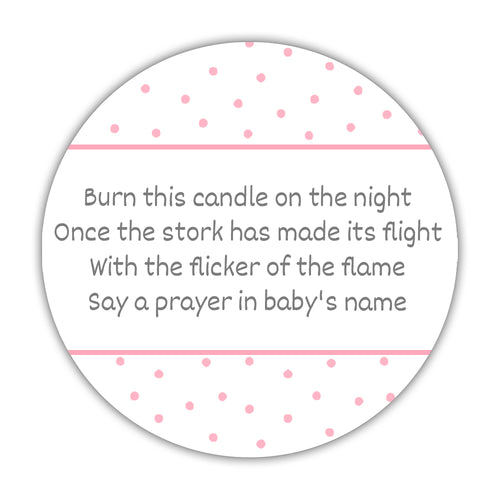 "Baby shower candle stickers - 1.5"" circle = 30 labels per sheet / Pink - Dazzling Daisies"