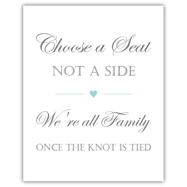 Choose a seat not a side sign - Aquamarine - Dazzling Daisies