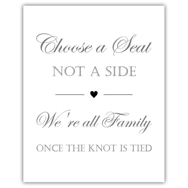 Choose a seat not a side sign - Black - Dazzling Daisies