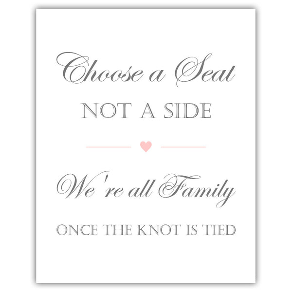 Choose a seat not a side sign - Blush - Dazzling Daisies