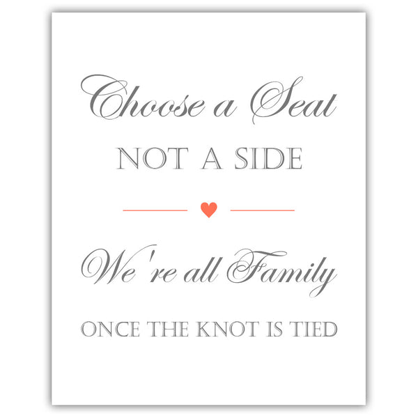Choose a seat not a side sign - Coral - Dazzling Daisies